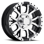 18x9 T13 Black Machined Aluminum Sendel Trailer Wheel 5x4.5 Bolt Pattern, 2,220 lb Capacity