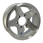15 x 6 Star Aluminum Trailer Wheel , 6 on 5.50 bolt pattern, 2830 lb Capacity