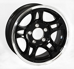 14 x 5.5 Black Machined Aluminum Bullet Trailer Wheel 5x4.50 Bolt Pattern