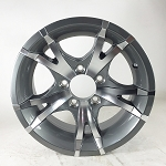 14 x 5.5 Viper Gray Machined Aluminum Trailer Wheel 5x4.5 0 Bolt Pattern