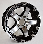 17 x 8  Matte Black and Silver Machined Aluminum Sendel T08 Trailer Wheel, 5 on 4.50, 2200 lb Max Load