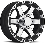 17 x 8  Matte Black and Silver Machined Aluminum Sendel T08 Trailer Wheel, 6 on 5.50, 2850 lb Max Load