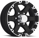 18x8 Matte Black with Silver T08 Sendel  Aluminum Trailer Wheel, 6x5.50 Lug, 2800 lb Capacity