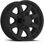 17 x 8  Matte Black Aluminum Sendel T08 Trailer Wheel, 5 on 4.50, 2200 lb Max Load