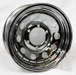 15 x 6 Chrome Modular Trailer Rim 6x5.50 w black rivets 2,540 Load Capacity