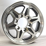 15 x 6 T04 Black Machined Aluminum Trailer Wheel 6 on 5 1/2