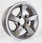 14 x 5.5 S02 Twisted Star Aluminum Mercedes Silver Painted Trailer Wheel 5 on 4.50