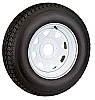 Towmaster ST175/80R-13 Radial Trailer Tire and White Painted Spoke Wheel