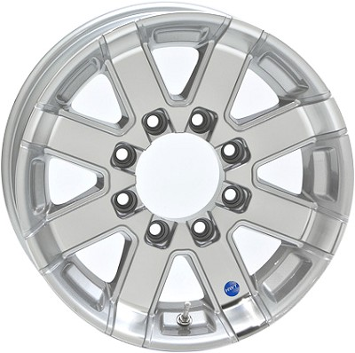 17.5x6.75 Series07 Silver Aluminum HiSpec Trailer Wheel, 8x6.5 Lug, Center Cap Incl., 4850 lb Max Load