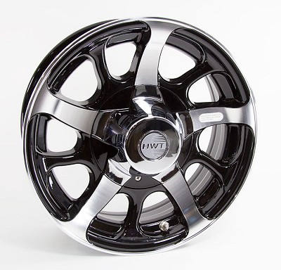 16 x 6 Hi Spec Dark Force Aluminum Black Trailer Rim 6 on 5.50 Bolt Pattern