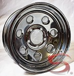 14 x 6 Soft Seven Chrome Clear Coated Steel Trailer Wheel 5 on 4.50