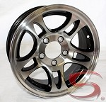 14 x 5.5 Machined with Black Inlay Bullet Aluminum Trailer Wheel 5 on 4.50