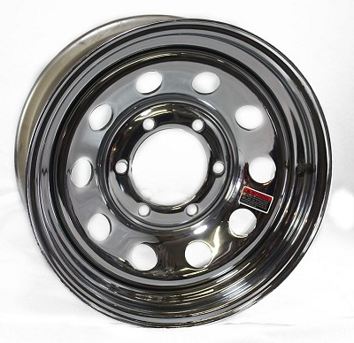 15x6 Steel Chrome Modular Trailer Wheel No Rivets, 6 on 5.50 Bolt, 2,850 lb Max Capacity