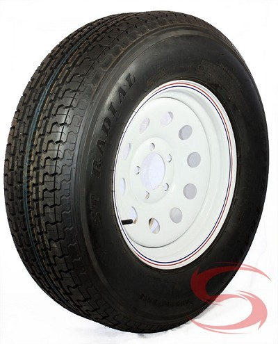 "ST225/75R15 Radial Trailer Tire with 15"" White Wheel 5 on 4.50 LR D"