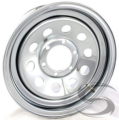16 x 6 Chrome Modular Steel Trailer Wheel (No Rivets) 6x5.50, 3760 lb Max Load