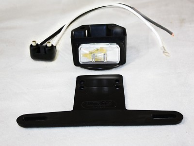 Wesbar License Plate Light and Bracket Assembly with two wire pigtail - Black 223210-440-09
