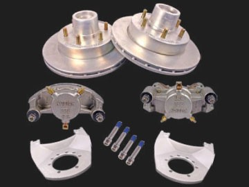 KODIAK 12 in Trailer Disc Brake Assy, (Complete 1 Axle Kit) Stainless Steel Calipers with DAC Hub, Rotor & Bracket 2/HRCM-12-DAC-SS