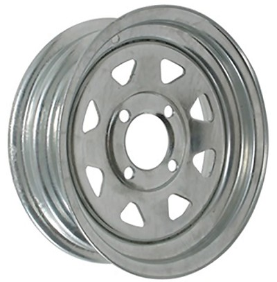 12 x 4 Galvanized Steel Spoke Trailer Wheel 4 on 4 Lug, 1,045 lb Load Capacity