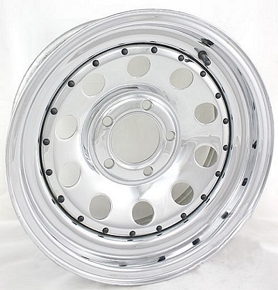 15 x 5 Chrome Modular Steel Trailer Wheel 5 on 4.50, Max Load 1,870 lb