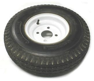 5.70 - 8  LR C Trailer Tire with White Trailer Wheel 4 on 4 Bolt Pattern
