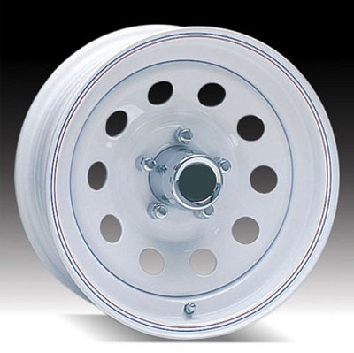 13 x 4.5 White Painted Modular Steel Trailer Wheel 5x4.5 No Rivits, 1,660 lb Load Capacity
