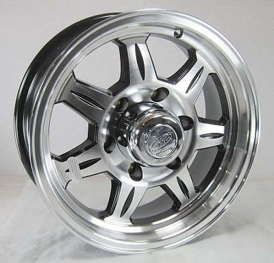 16 x 6 SAWTOOTH 870 Aluminum Trailer Wheel 6 Lug with Center Cap