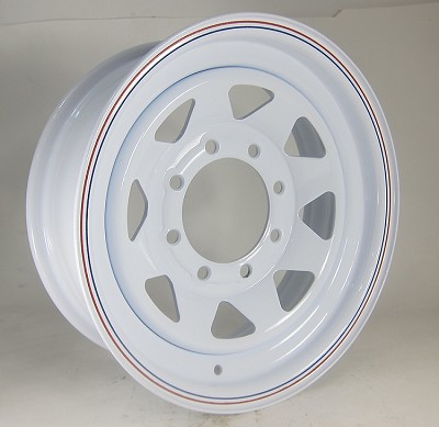 16 x 6 White 8-Spoke Steel Trailer Rim, 8 on 6.50, 3750 lb Load Rating 2066080-53171HD