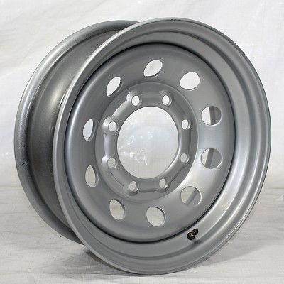 16 x 6 Silver Modular HD Steel Trailer Rim no Rivets 8 on 6.50 Bolt Pattern