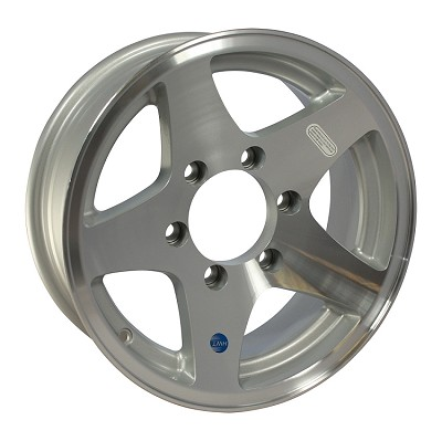 16 x 7 Aluminum Star HiSpec Trailer Wheel 6 on 5.50 Bolt Pattern
