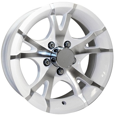 15x6 inch Viper White Machined Aluminum 5 Bolt Sendel T07 Trailer Rim , 2150 lb Max Load
