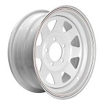 14 x 6 White Painted Steel Spoke Wheel 5 on 4.50, 1900 lb Capacity