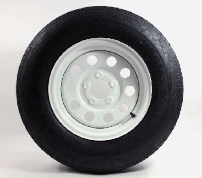 ST205/75D14 LR C Trailer Tire w/ White 5x4.5 Modular Wheel Assembly