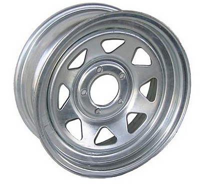14 x 6 Galvanized Steel Spoke Trailer Wheel 5 on 4.50 Lug Pattern