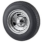 14 x 6 Chrome Blade Trailer Rim, 5x4.5 with ST205/75D14 Import Bias Ply Trailer Tire