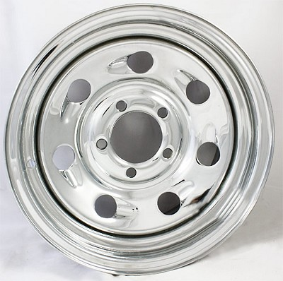 15 x 6 Steel Chrome Tail Gunner Wheel 5 on 4.50 Bolt Pattern