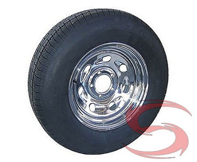 15 x 6 Chrome Comet Trailer Wheel, 5x4.50 Lug with ST205/75R15 Import Radial Trailer Tire LRC