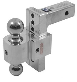"Adjustable Solid-Tow Aluminum Ballmount, 2 Balls, up to 7"" Rise or 6"" Drop, 10,000 lbs."