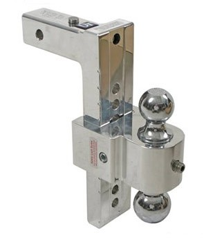 "Adjustable Solid-Tow Aluminum Ballmount, 2 Balls, up to 9"" Rise or 8"" Drop, 10,000 lbs."