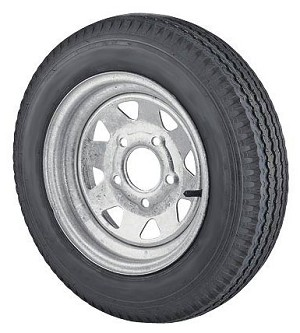 12 x 4 Galvanized Trailer Wheel Spoke 5 lug w/ 5.30-12 LR C Trailer Tire Mounted