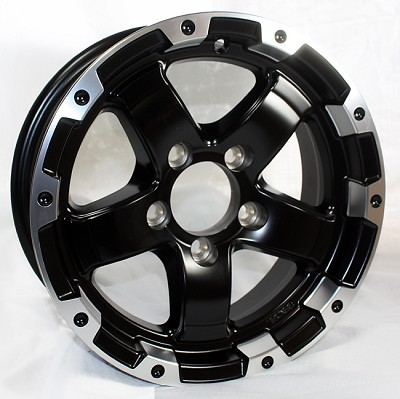 15 x 6 Trailer Rim Grinder Matt Black Machined Lip, 5 on 4.50 w/ 2,150 lb Capacity