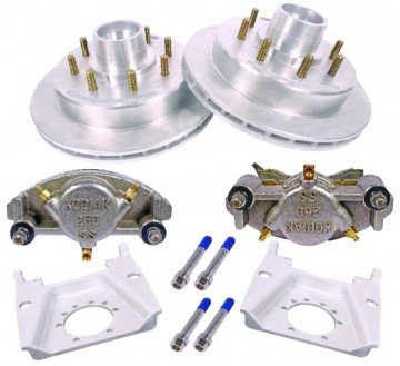 KODIAK 13 inch Trailer Disc Brake Assy, Stainless Steel, DAC (Complete 1 Axle Kit) with Stainless Steel Calipers - Bearings Included