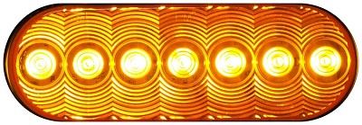 LumenX® M821A-7 Amber Grommet Mount Oval LED Stop, Turn & Tail Light, PL3