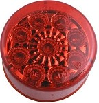 Sealed, Miro-Flex, 2 in Round, Red LED Trailer Side Marker, Clearance or ID Light, 9 Diode #MCL50RB