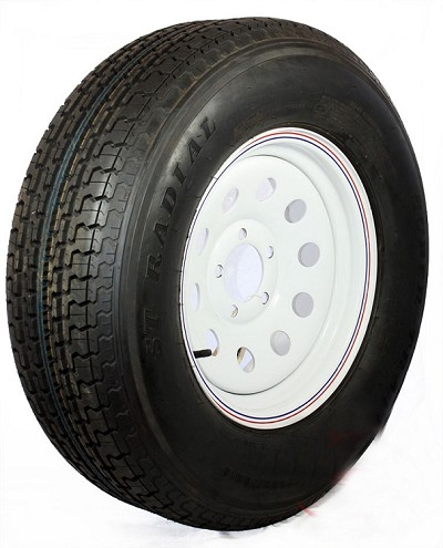 ST205/75R15 Radial Trailer Tire LRC & 15x6 White Modular Rim 5 on 4.50