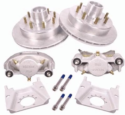 Kodiak Disc Brake Kit w/ 13 in Rotor, 8 on 6.5, Dacromet-DAC on Stainless 7K lb (One Axle Kit)