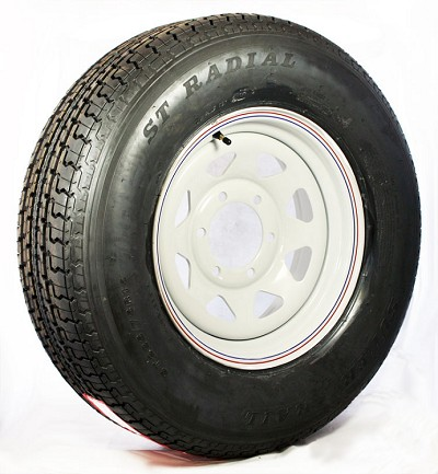ST225/75R15 Radial Trailer Tire and White Spoke Trailer Wheel, 6 on 5.50 Bolt Pattern