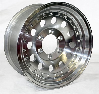16 x 7 Aluminum Mod Clear Coated Trailer Wheel 6 on 5.50 with Rivets