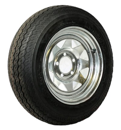 ST205/65D14 Towmaster Trailer Tire LR C Galvanized 5 lug Spoke Rim