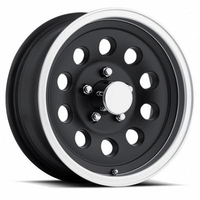 15 x 6 Matte Black Aluminum Trailer Wheel with Machined Lip, 5x4.5 Lug Pattern