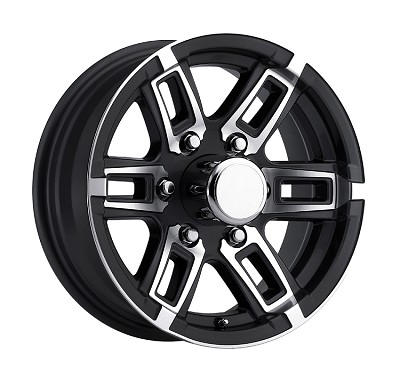 16 x 6 Linkster Black Aluminum 6 x 5.50 Trailer Wheel 3,200 lb Capacity